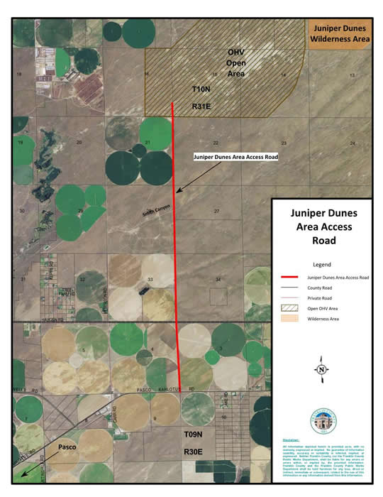Juniper Dunes Access Road Map